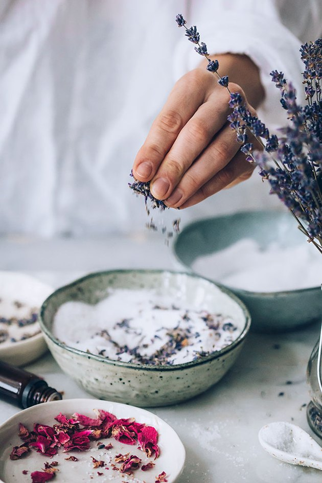 Add dried herbs to DIY Bath Salts