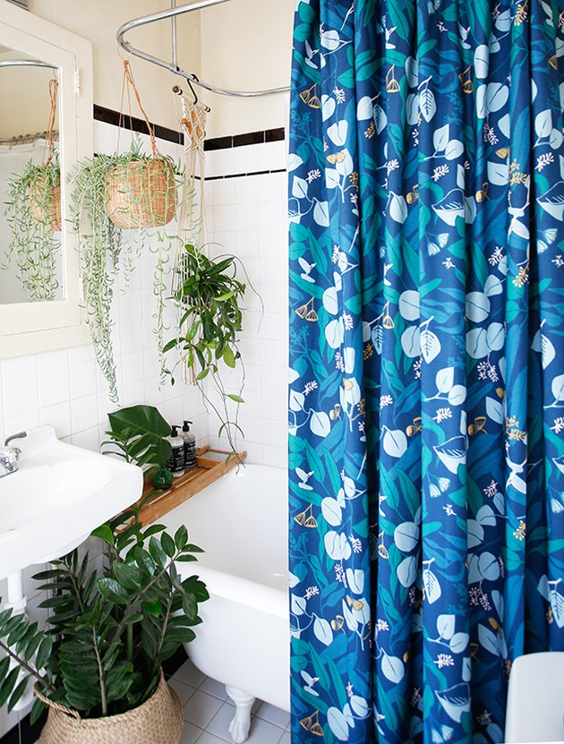 bohemian bathtub shower combination with blue shower curtain and hanging plants