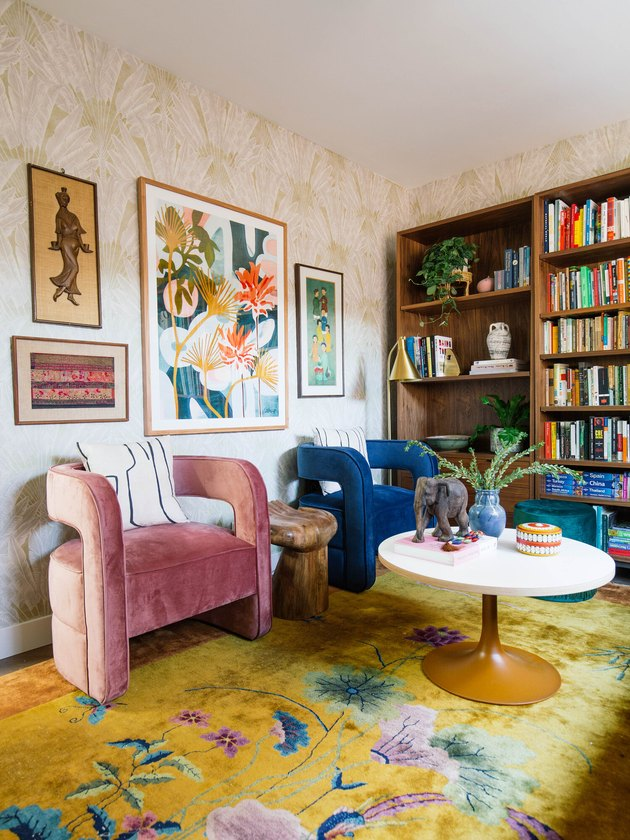 Jewel tone midcentury modern colors in home office