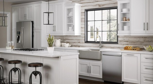 kitchen space with white cabinets