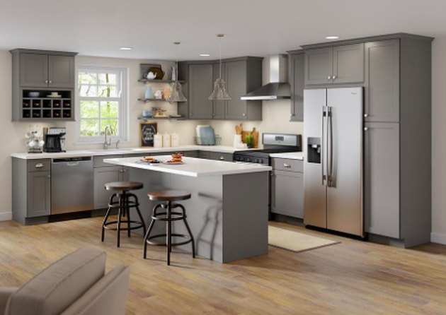 kitchen space with gray cabinets