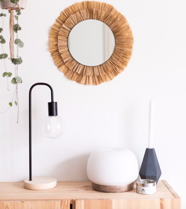 Turn a simple mirror into something special with this raffia trim.