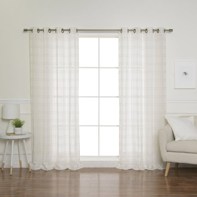 sheer plaid curtains over french door