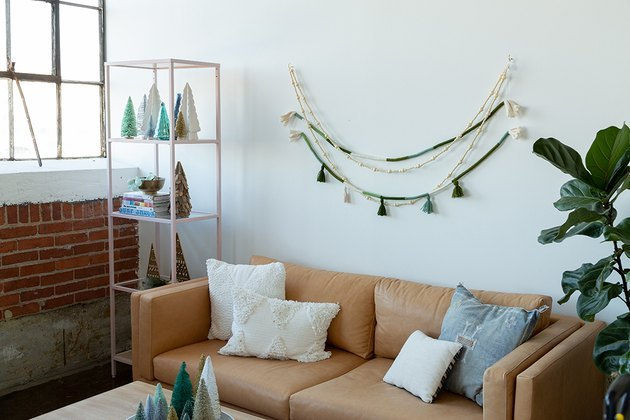 DIY boho garland using rope and yarn.