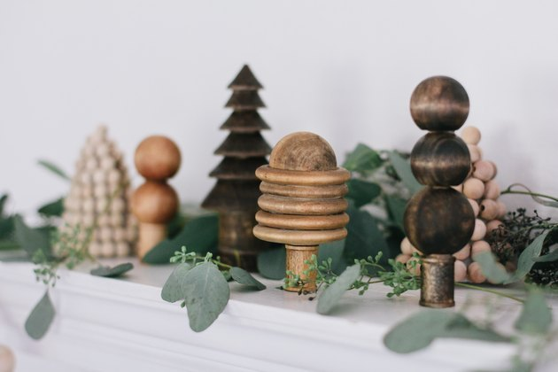 Holiday forest made with wood beads DIY