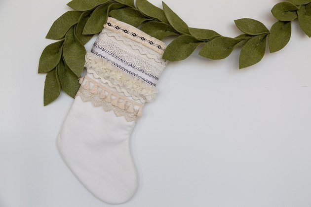 Boho stocking with felt garland