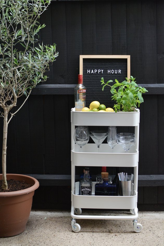 outdoor party idea with drink station with created with IKEA cart