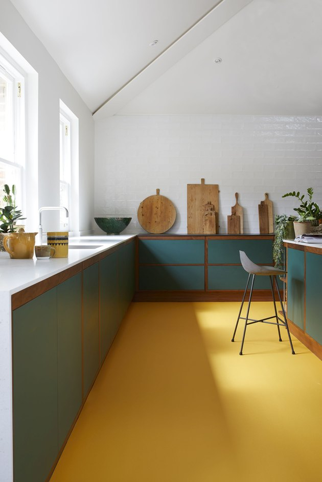 two tone kitchen color idea with white kitchen with yellow floor and green cabinets