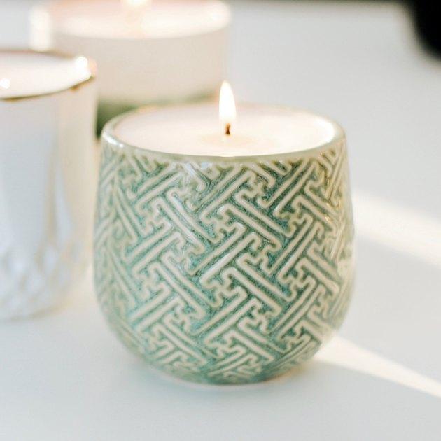 green geometrc candle holder