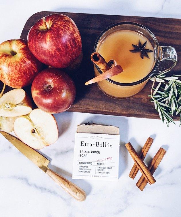 soap bar, hot apple cider, apples, cinnamon sticks