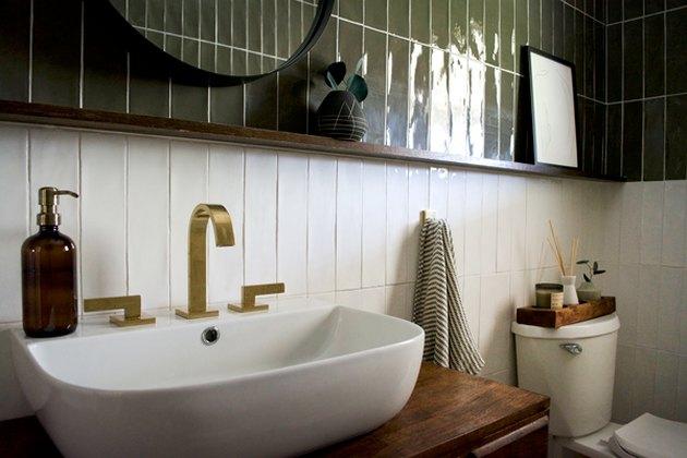 White tile bathroom Backsplash with olive tile