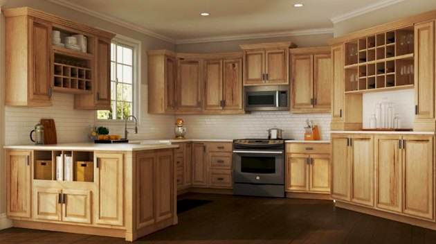 kitchen space with hickory cabinets