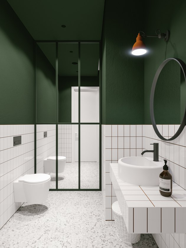 white tile bathroom backsplash with dark grout