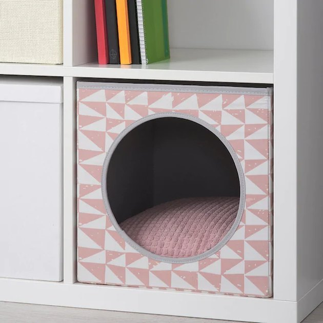 pink cat house with pad