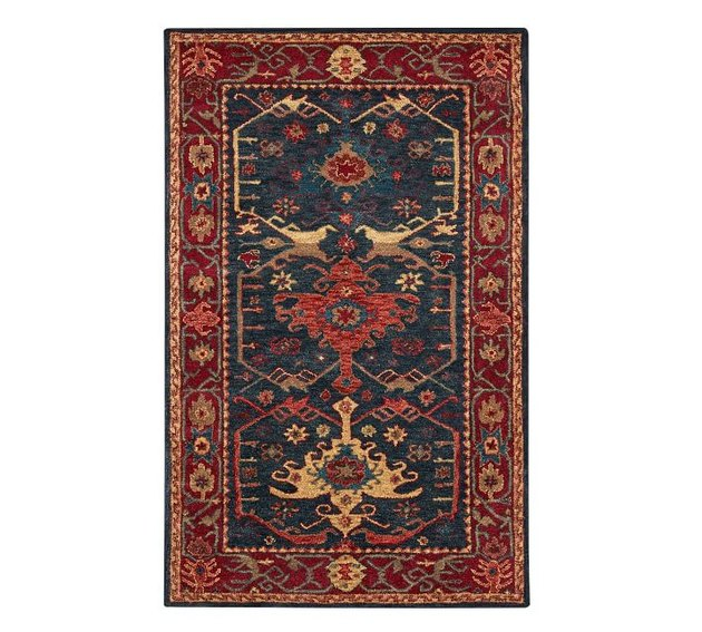 Red and navy persian rug
