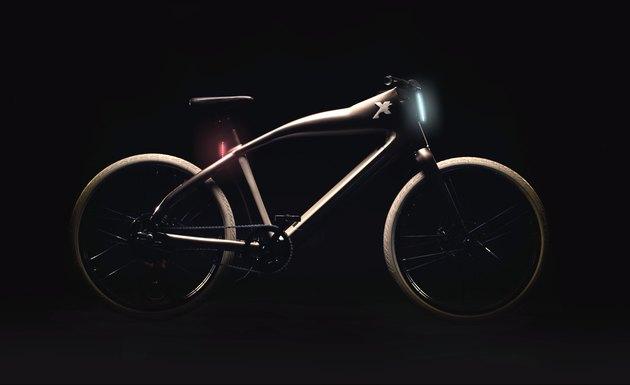 High-tech bike on black background