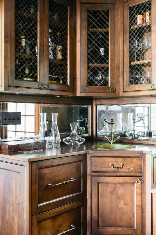 hickory cabinets with glass doors