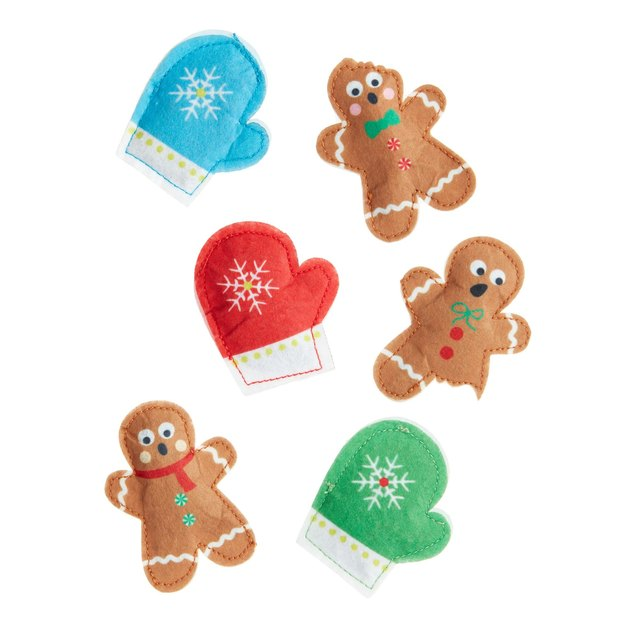 gingerbread people and mitten cat toys