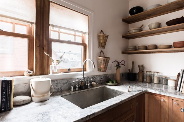 stone countertop, kitchen sink and kitchen ledges