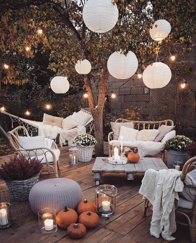 boho garden with paper lanterns