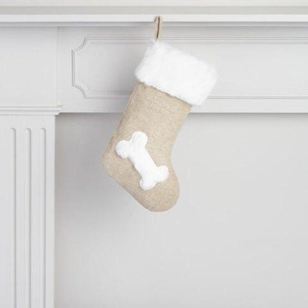 stocking with bone decoration