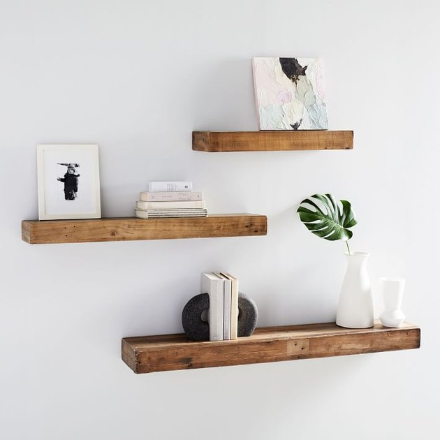 recycled wood floating shelves