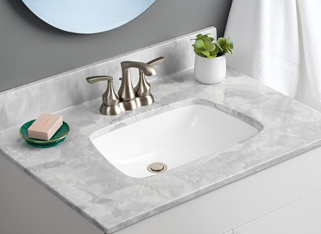 bathroom sink with cultured marble top