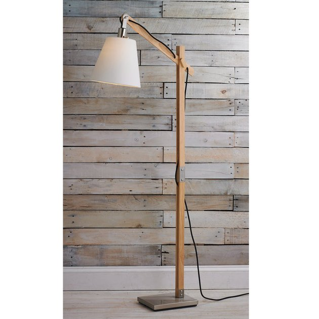 wood post and steel floor lamp