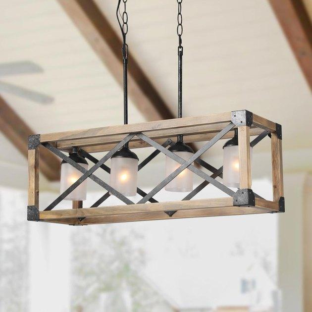 openwork wood chandelier