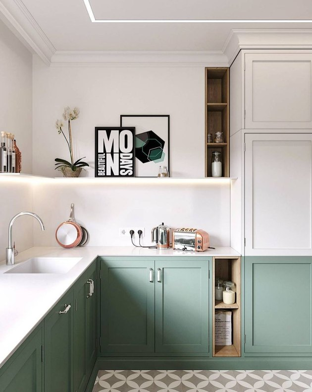 two tone kitchen color idea with white and sage two-tone kitchen
