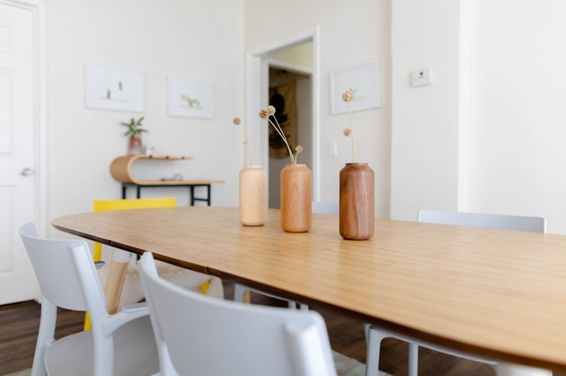 wood dining table, white chairs