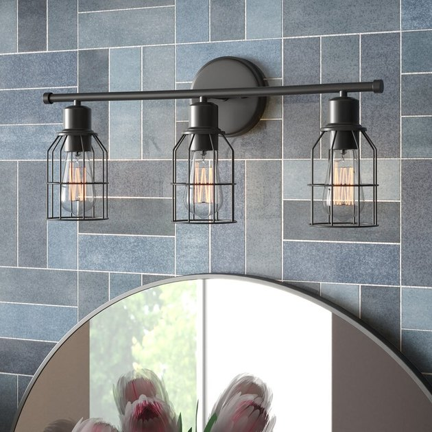 caged wire vanity lights