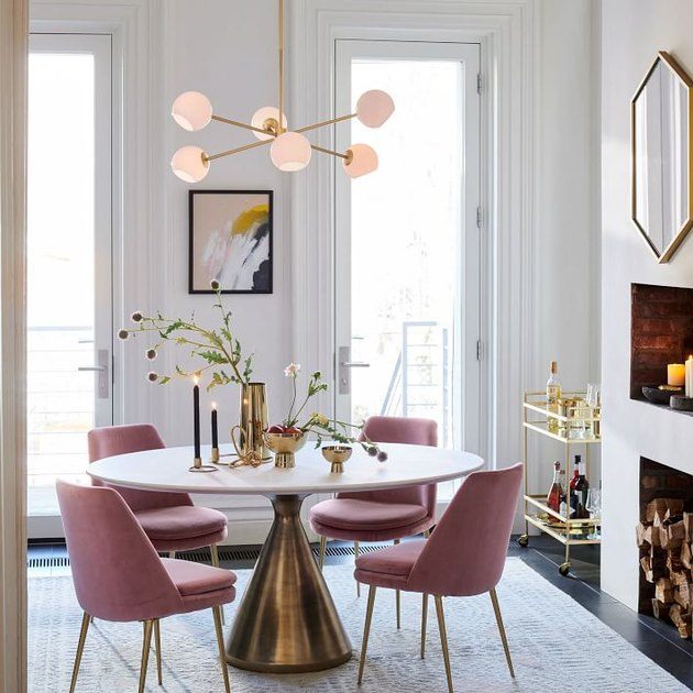 contemporary dining room lighting with milk glass and brass Sputnik chandelier