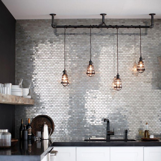 metal mosaic kitchen backsplash