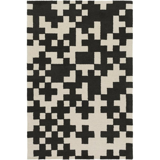 black and white pixel print area rug