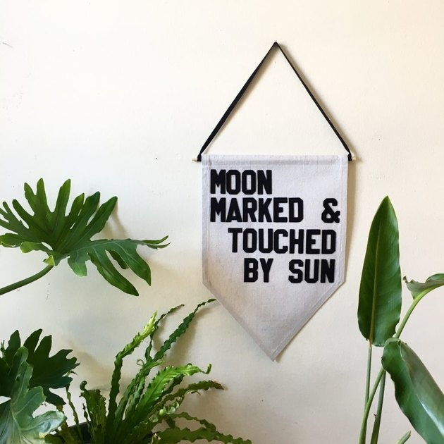 """pennant with phrase """"moon marked and touched by sun"""""""