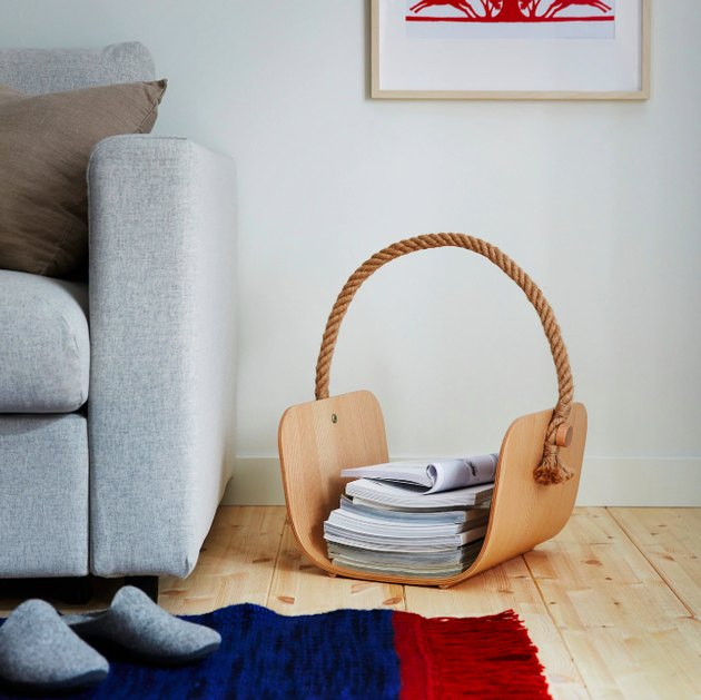 basket near gray couch