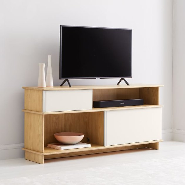 media console with black television