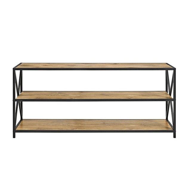 three-shelf wood TV stand