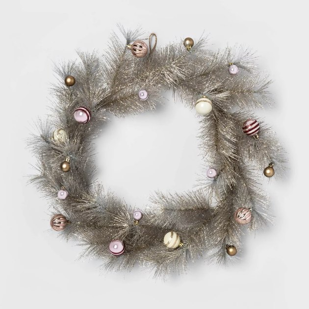 white and gold tinsel wreath