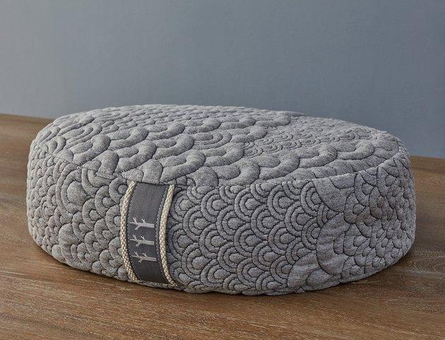 Gray circular meditation pillow