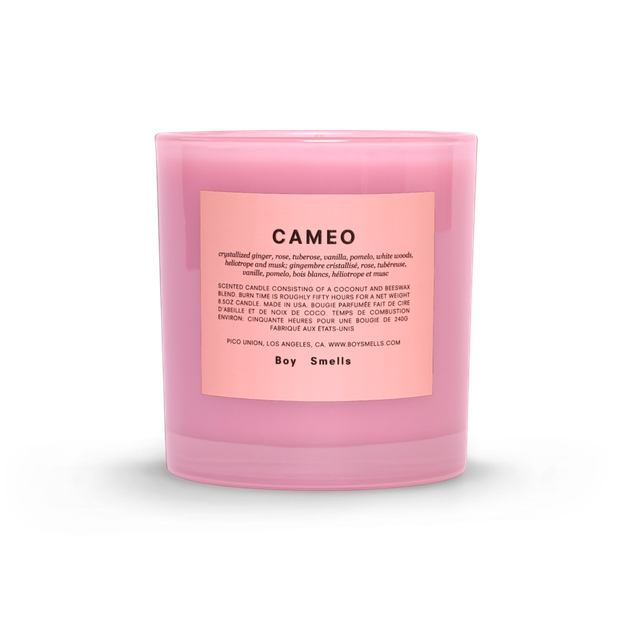 Pink candle with peach label
