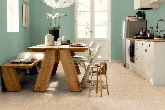 Light linoleum flooring in a kitchen