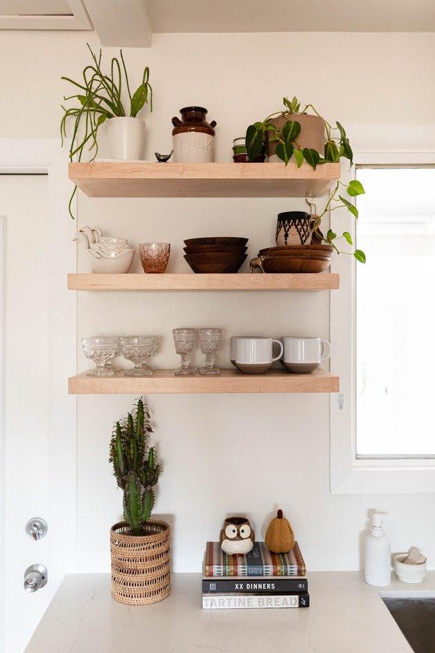 wooden shelves in kitchen