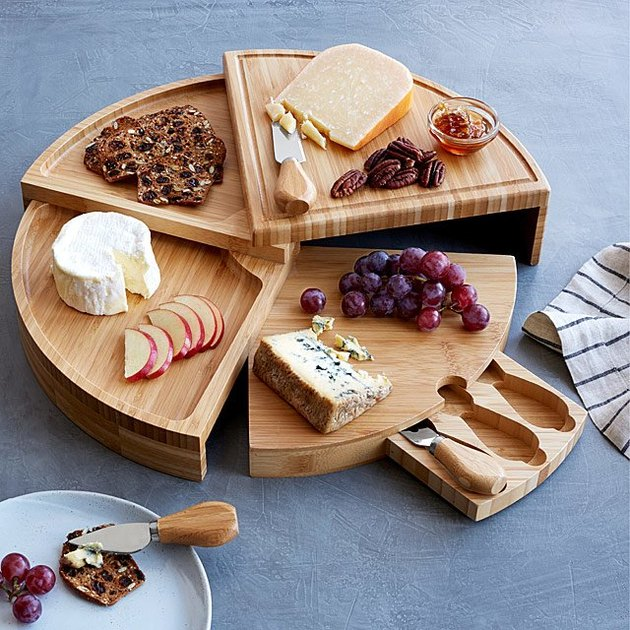 Uncommon Goods Compact Swivel Cheese Board with Knives