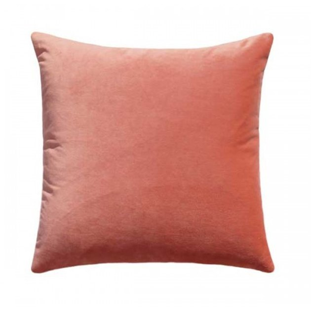 Square peach velvet throw pillow