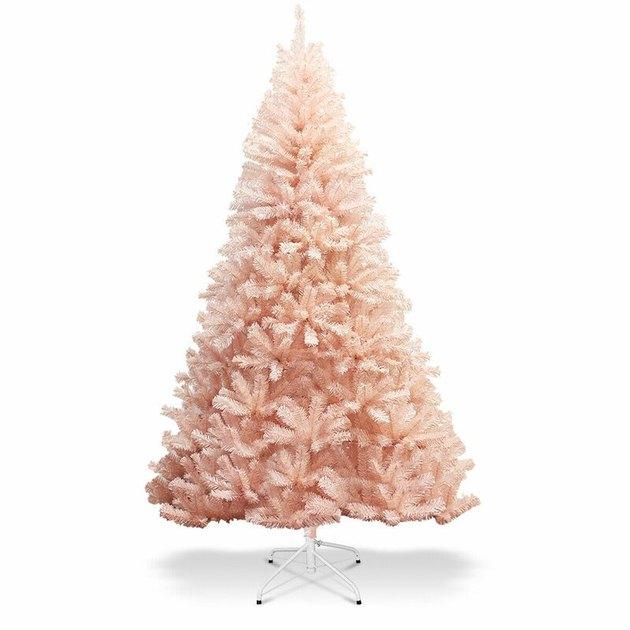 light pink artificial Christmas tree