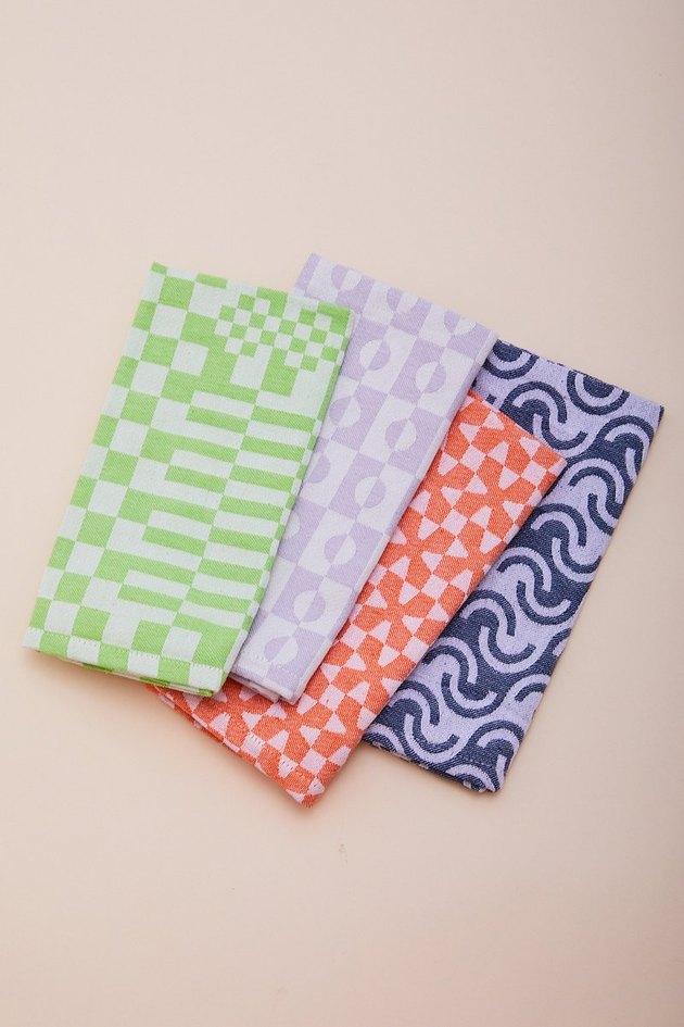 four patterned napkins