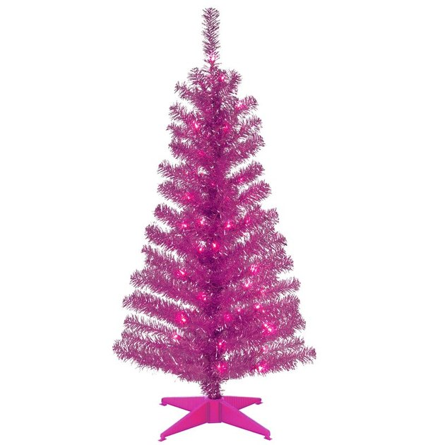 hot pink artificial Christmas tree