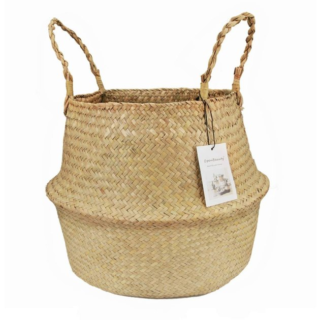 Foldable seagrass storage basket with two handles